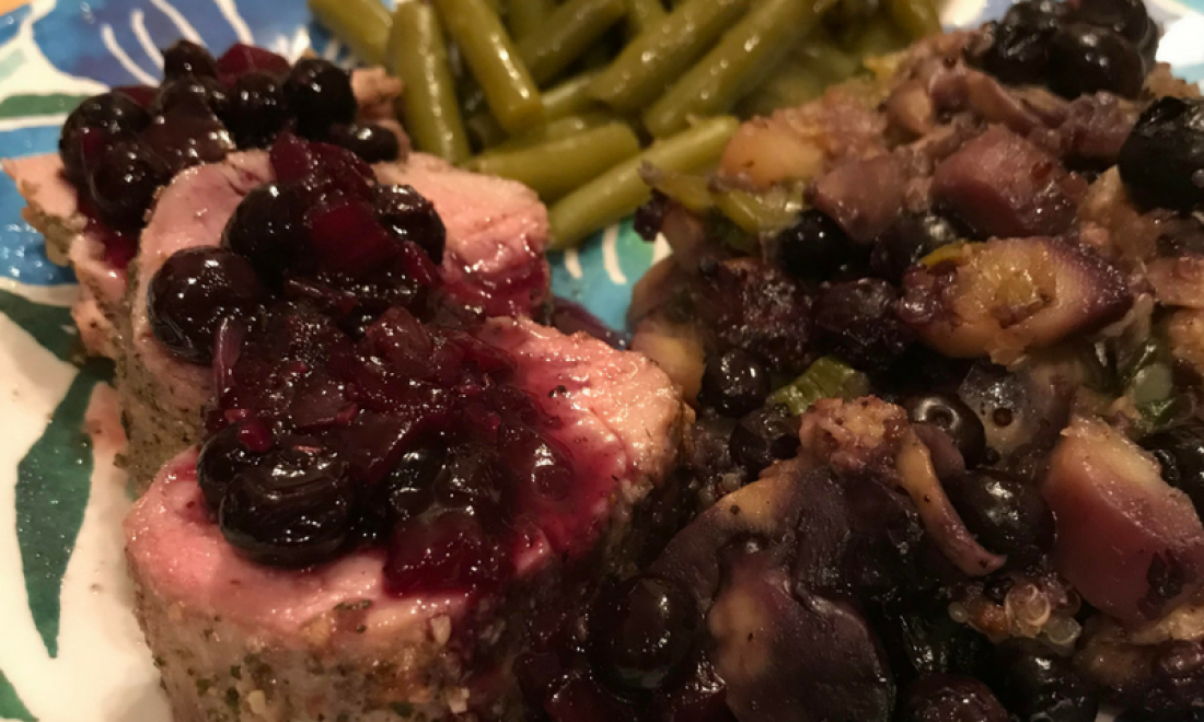 Blueberry Glazed Pork Loin with Wild Blueberry Stuffing & Green Beans